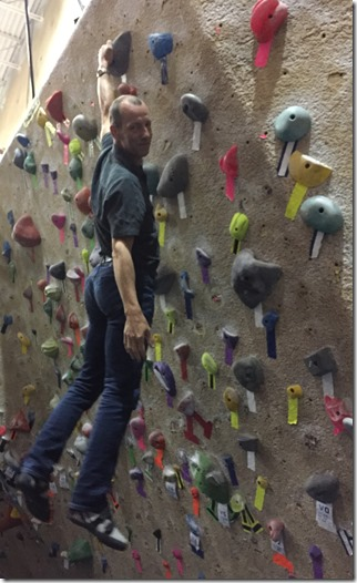 It's a good day on the bouldering wall