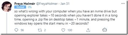 Tweet asking why explorer keeps hanging on a fast computer